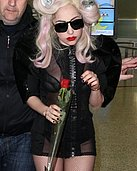 Lady Gaga wearing black see-through legging in these candids