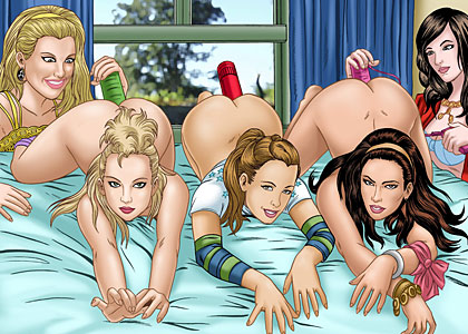 The gorgeous celebrity comics babes from PussyCat Dolls masturbating their sweet pussies